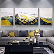 3 stücke gerahmt abstrakte berge malerei leinwand wand kunst bilder für wohnzimmer wand dekor original acryl handgemachte textur landschaft