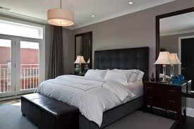 Masculine Modern Master Bedroom Ideas With Black Bed Furniture And Leather Bench Picking The