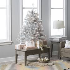 Hayneedle Flocked Christmas Trees by 130 4 5 Ft Classic Silver Clear Pre Lit Full Tabletop
