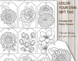 Printable PDF Gift Tag Coloring With Flower Design Instant Download Tags Adult Florals