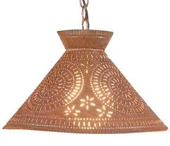 Punched Tin Lamp Shade Country by Punched Tin Pendant Light Large Chisel Pattern Ceiling Light In