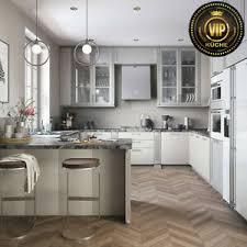 details zu moderne landhausküche astory massivholz design küche weiß grau meterpreis