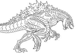 Godzilla Chasing Enemy Coloring Pages