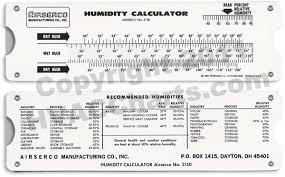 hvac charts humidity calculator pocket slide tool large view
