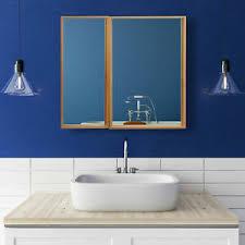 details zu bad spiegelschrank zweitürig breiter hängeschrank bambus badschrank spiegel