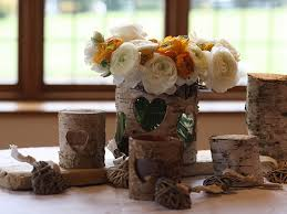 Rustic Wedding Table Decorations Using Our Bark Containers And Tea Light Holders For A Barn Or Farm House Venue