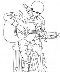 Justin Bieber Playing Guitar Coloring Page