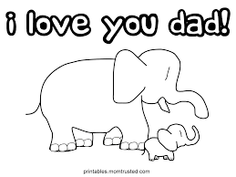 I Love You Dad Elephants Coloring Page