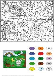 Summer Scene Color By Number From Worksheets Category Select 25255 Printable