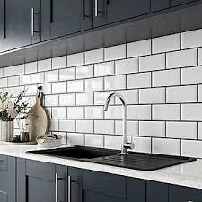 White Kitchen Tiles Ideas Wickes Metro White Ceramic Wall Tile 200 X 100mm Wickes