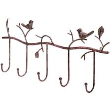 Decorative Rustic Tree Branch And Birds Wall Mounted Metal 5 Coat Hook Clothing Or Towel Hanger Storage Rack