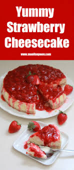 Deliciously creamy and fruity cheesecake with a luscious sweet tangy strawberry sauce that brings this