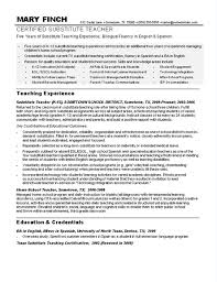 Sample Teacher Resumes Substitute Resume Rh Com For Experience With