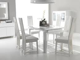 Magnificent White Glossy Dining Table With Utensils Cabinet For Furniture Room Design Ideas