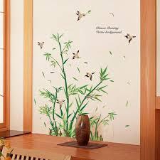 chinesischen stil bambus vinyl wandaufkleber wohnzimmer badezimmer dekoration vögel glastür wohnkultur baum wandtattoos aufkleber