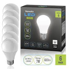 led bulbs pack of 6 a19 e27 7w brightest 60w soft white 3000k