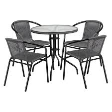 Flash Furniture 28'' Round Glass Metal Table With Rattan Edging And 4 Black  Rattan Stack Chairs, Multiple Colors Jack Daniels Whiskey Barrel Table With 4 Stave Chairs And Metal Footrest Ask For Freight Quote Goplus 5 Pcs Black Ding Room Set Modern Wooden Steel Frame Home Kitchen Fniture Hw54791 30 Round Silver Inoutdoor Cafe 0075modern White High Gloss 2 Outdoor Table Chairs Metal Cafe Two Stock Photo 70199 Alamy Stainless 6 Arctic I Crosley Kaplan 4piece Patio Seating Oatmeal Cushion Loveseat 2chairs Coffee Rustic And Pieces Glass Tabletop Diy Patterns Pads Brown Tufted Target Grey