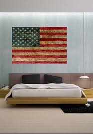 Faded Rustic American Flag Landmark Vinyl Wall Decal Full