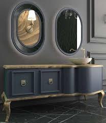 casa padrino luxus barock badezimmer set naturfarben blau 1 waschtisch mit 2 türen und 1 waschbecken und 2 wandspiegel prunkvolle
