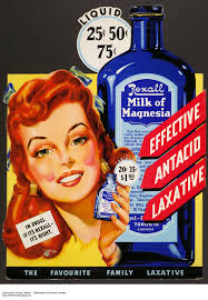 Colour Advertisement Of A Smiling Woman Holding Blue Bottle Containing Tablets To Her Right