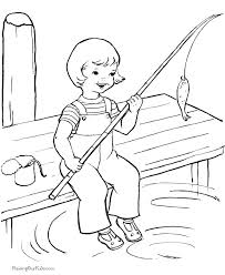 Happy Girl Fishing Summer Coloring Pages Holidays For Kids
