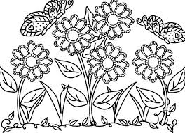 Butterfly With Flower In The Garden Colouring Pages Coloring Page