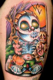 Cartoon Style Painted And Colored Creepy Monster With Money Bag Voodoo Doll Tattoo On Thigh