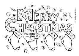 Free Christmas Printable Coloring Pages Merry Socks For Kids Pictures