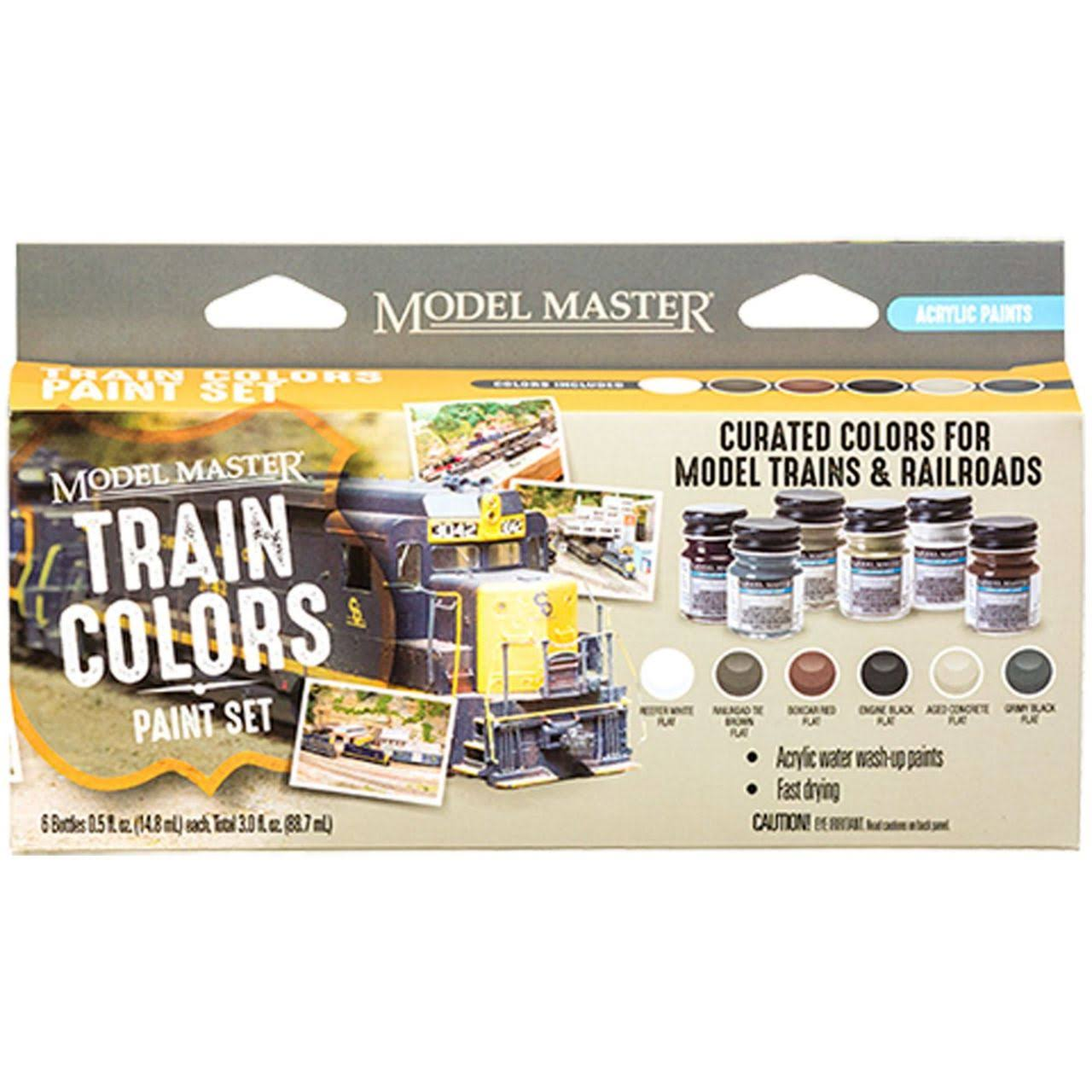Testors 342300 Model Master Color Acrylic Paint Set, Train Colors (6)