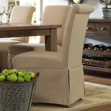 Skirted Parsons Chairs With Arms by Slater Mill Pine Slipcover Skirted Parson Chair With Linen Look