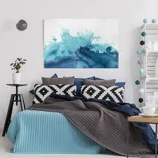 leinwandbild welle aquarell blau i querformat 2 3