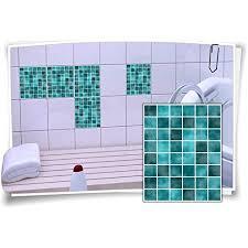 medianlux fliesen aufkleber fliesen bild fliesen imitat mosaik türkis bad wc deko dekor badezimmer kachel folie digitaldruck 12 stück 15x20cm