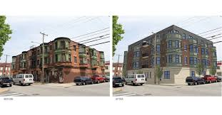 Before And After Rendering Of What The Triangular Apartment Building Will Look Like Renovation