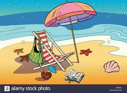 Beach Lounger And Sun Umbrella Rest On The Sea Tourism Comic Cartoon Illustration Pop Art Retro Vector