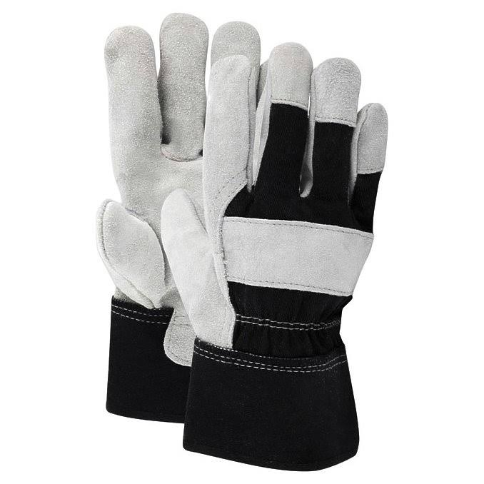 Ace Men's Indoor Outdoor Cotton Leather Work Gloves - Black/Gray, X-Large