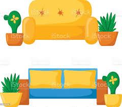 comic sofa im wohnzimmer stock vektor und mehr bilder abflugbereich