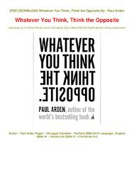 100 Whatever You Think Think The Opposite Ebook READ The READ PDF EBOOK