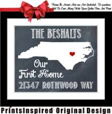 Housewarming Gift Personalized State Map Print Quote Location New Address Names Our First Home Unique Chalkboard Style Wall Art Decor