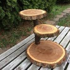 Rustic Cake Stand Cupcake Wedding Large Log Elm Wood Wooden 3 Tiered Step Tree Outdoor Shower Party Donut Dessert