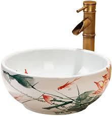 keramik runde bemalt mini bühne waschbecken badezimmer