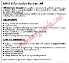 information bureau rime information bureau ltd θέση εργασίας cyprus