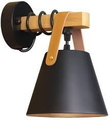 wandleuchte schwarz retro wandle holz vintage e27 industrie wandbeleuchtung innenbeleuchtung für schlafzimmer küche esszimmer flur treppenhaus