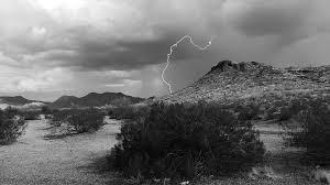 Lightning Storm Desert Cactus Weather Thunder Sky
