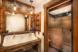 wood tile shower with reclaimed wood bathroom rustic and brown
