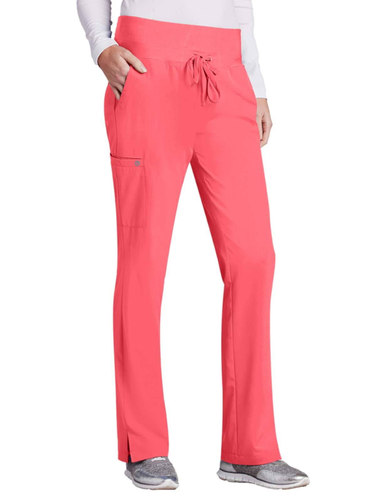 Barco One Women 5-Pocket Knit Waistband Flare Scrub Pant - Coral Reef (M)