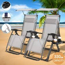 4-EVER Heavy Duty Zero Gravity Outdoor Lounge Chairs Adjustable Folding  Patio Reclining Chairs Beach Chairs W/Canopy Sunshade + Cup Holder +  Accessory ... Patio Fniture Accsories Zero Gravity Outdoor Folding Xtremepowerus Adjustable Recling Chair Pool Lounge Chairs W Cup Holder Set Of Pair Navy The 6 Best Levu Orbital Chairgray Recliner 4ever Heavy Duty Beach Wcanopy Sunshade Accessory Caravan Sports Infinity Grey X Details About 2 Yard Gray Top 10 Reviews Find Yours 20