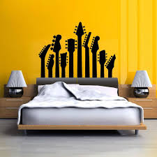 Row Of Guitar Necks Wall Art Sticker Music Decal Rock Silhouette Themed