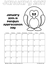 January 2017 Penguin Calendar Coloring Page