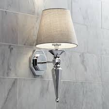textured fabric shade 17 1 4 high chrome wall sconce v3573