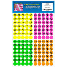 Amazon Garage Sale Pup Preprinted Pricing Labels Bright Neon Multicolored Yellow Pink Green Orange Pack Of 2100 Office Products